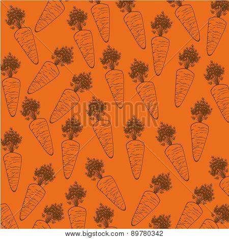 Carrot Silhouette Over Orange Background Vector Illustration