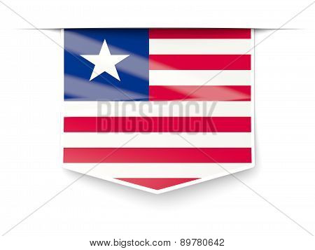 Square Label With Flag Of Liberia
