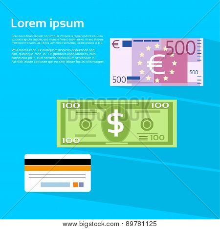 Currency Cash Banknote Dollar Euro Credit Card