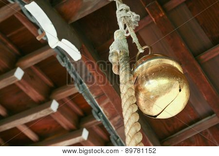 Japanes Bell Hanging In A Shinto Temple
