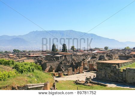 Site Of Pompei And Mount Vesuvius