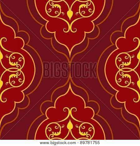 Seamless red simple damask pattern.