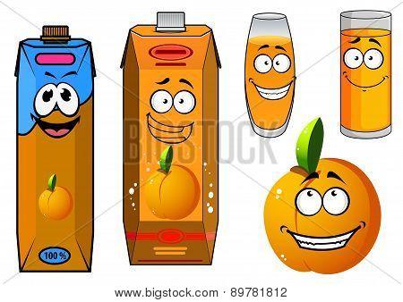 Orange juice and fruit cartoon icons