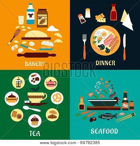 Set of flat food infographics