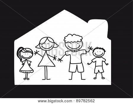 Happy Family Over House Black And White Vector Illustration