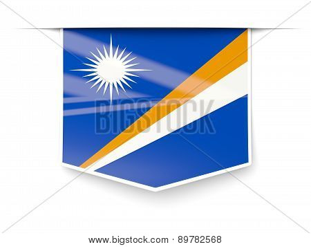 Square Label With Flag Of Marshall Islands