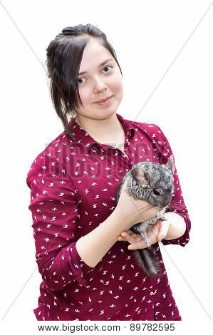 Teenager Caucasian Girl Holding Chinchilla On Her Arms Isolated On White Background