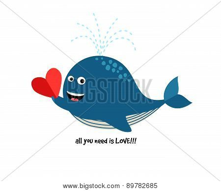 Cute Blue Whale with Heart