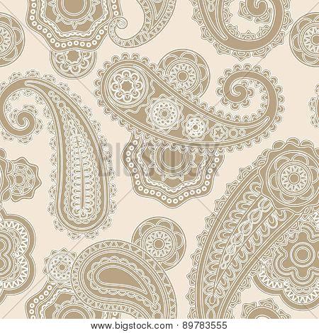 Seamless paisley lacy pattern