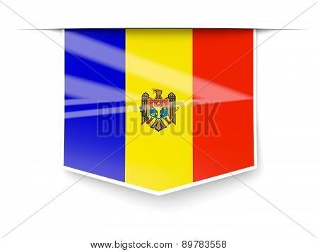 Square Label With Flag Of Moldova