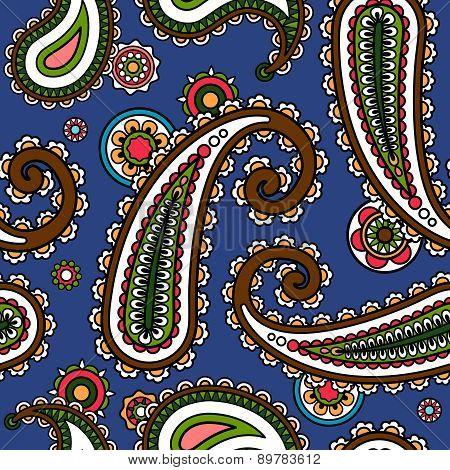 Traditional asian paisle seamless pattern