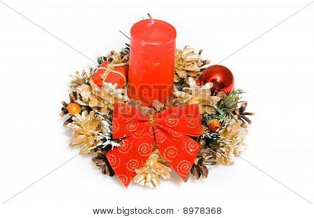 Christmas Red Ornament With Candle