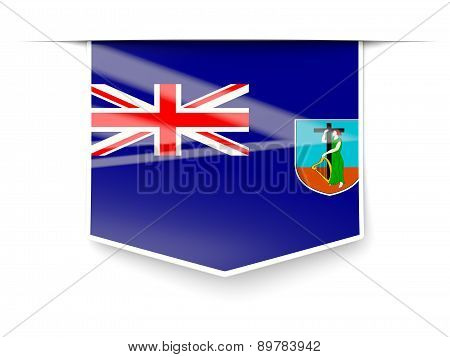 Square Label With Flag Of Montserrat
