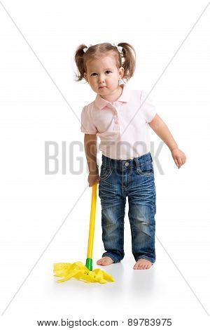 Little girl doing her chore of mopping the floor
