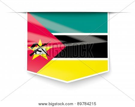 Square Label With Flag Of Mozambique