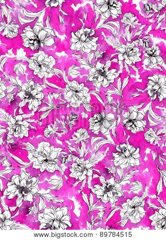 Seamless Abstract Rose Pattern.
