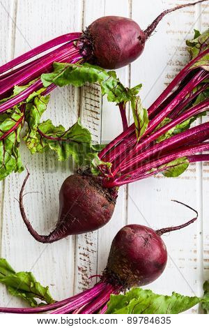 Fresh organic beetroot with green leaves