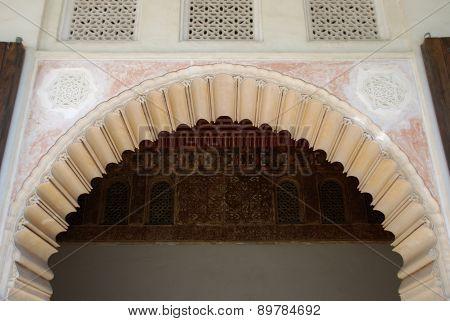 Archway in castle, Malaga.