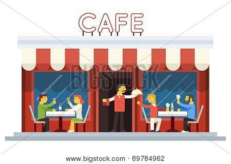 Cafe Building Facade Customer People Eating Drinking Waiter Serving Dish Icon Background Flat Design