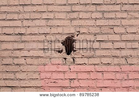 Red Brick Wall Background  With Black Hole