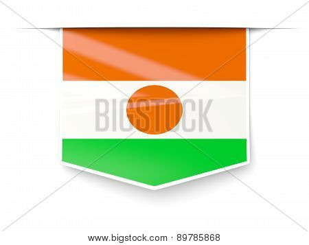 Square Label With Flag Of Niger