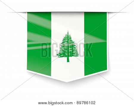 Square Label With Flag Of Norfolk Island