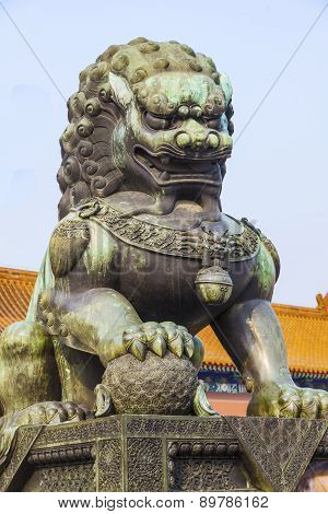 Ming Dynasty guardian lion at the Forbidden City