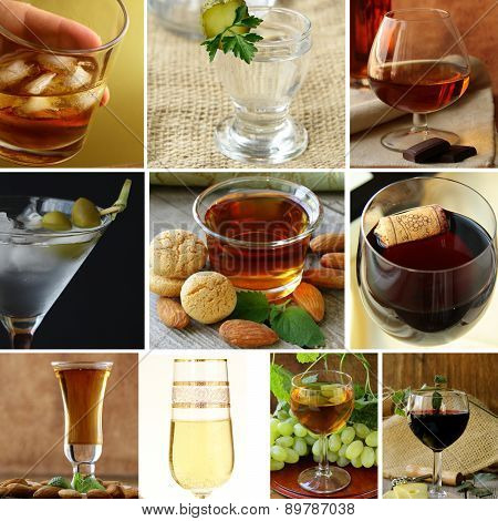 collage menu different types of alcohol (wine, martini, whiskey, vodka, amaretto, brandy)