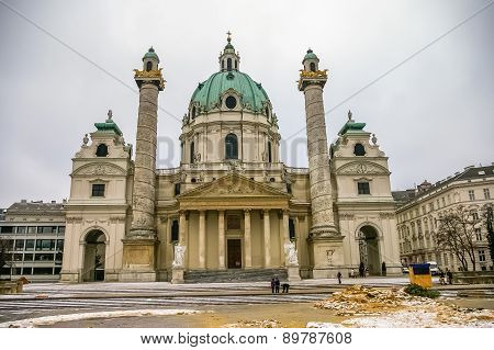View On Karlskirche Church In Vienna, Austria