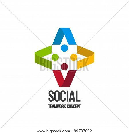 Social Teamwork concept.Circle of friends. Network Logo design.