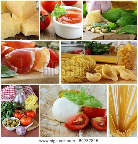 collage of traditional Italian food ingredients (Parmesan cheese, mozzarella, pasta, prosciutto, bas