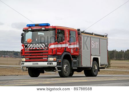 Scania 114C Fire Truck On The Road