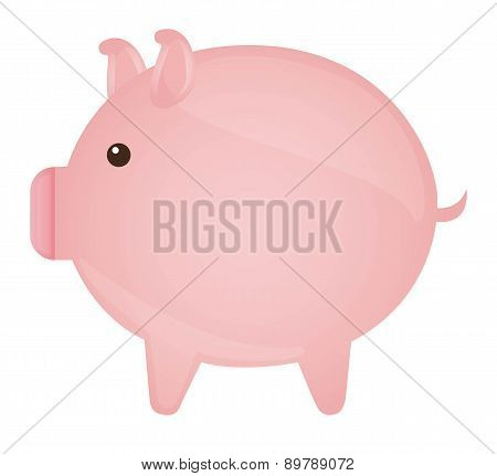Pink Piggy Isolated Over White Background Vector Illustration