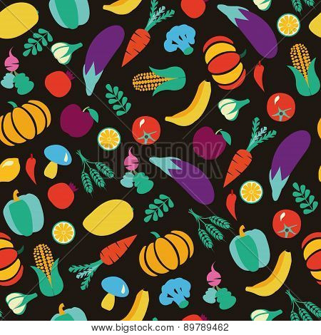 Vegetables And Fruits Eco Food Pattern