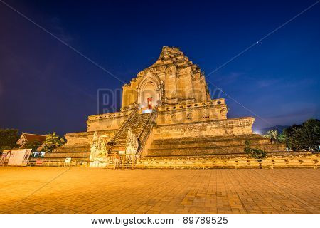 Wat Chedi Luang, A Buddhist Temple Of Chiang Mai, Thailand.