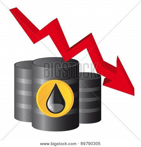 Black Oil Barrel With Red Arrow Down Vector Illustration