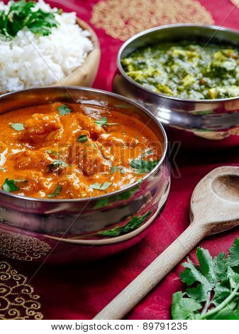 Butter Chicken With Rice And Saag Paneer