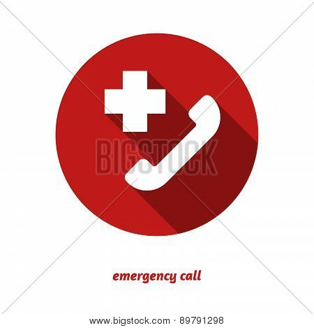 Emergency Call Flat Icon With Long Shadow.