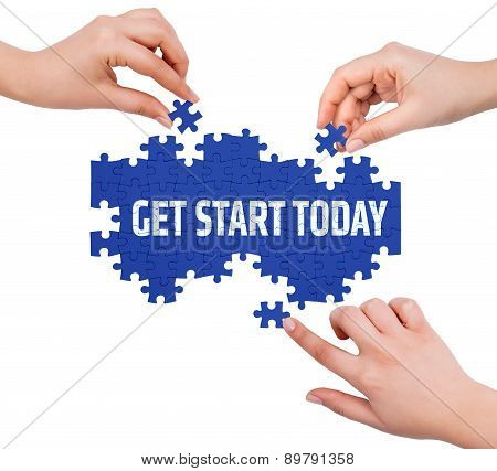 Hands With Puzzle Making Get Start Today Word  Isolated On White