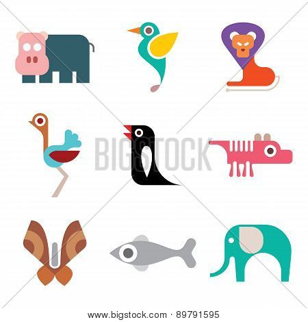 Zoo Animal Icon Set