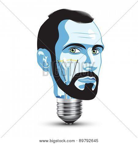 Light Bulb with Head of Beard Man
