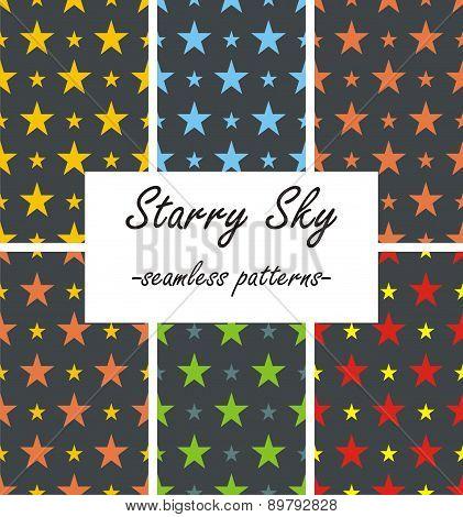 Seamless patterns - starry sky