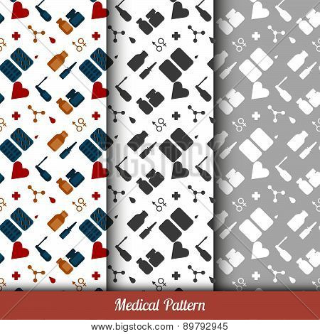 Seamless Pattern On The Medical Theme, Three Backgrounds Inside.
