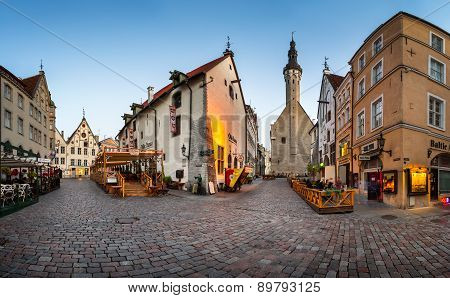 Tallinn Town Hall And Olde Hansa Restaurant In The Morning, Tallinn, Estonia