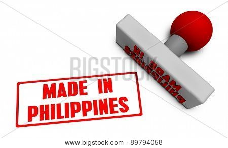 Made in Philippines Stamp or Chop on Paper Concept in 3d