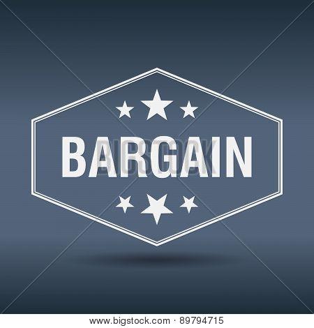 Bargain Hexagonal White Vintage Retro Style Label