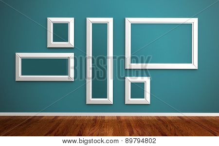 Picture Frames On Blue Wall And Wood Floor 3D Render