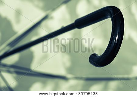 Black Green Umbrella Cane Handle Closeup