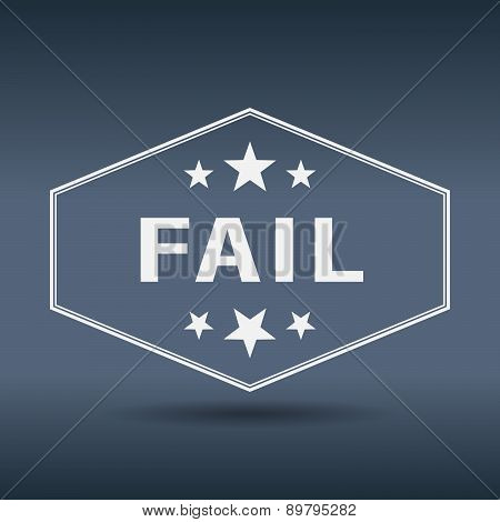 Fail Hexagonal White Vintage Retro Style Label
