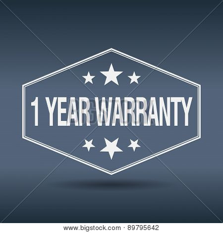 1 Year Warranty Hexagonal White Vintage Retro Style Label